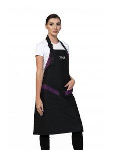 Фартук Kodi черный с фиолетовыми вставками, белый логотип (длинный)