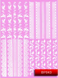 Наклейки для ногтей (стикеры) Nail Art Stickers BP 043 (белый)