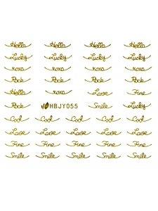 Наклейки для ногтей (стикеры) Nail Art Stickers 055 Gold