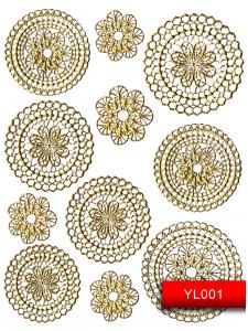 Наклейки для ногтей (стикеры) Nail Art Stickers YL001 Gold