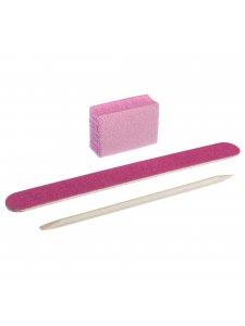 Набор одноразовый для маникюра, цвет: розовый (пилочка 120/120, баф 120/120, апельсиновая палочка)