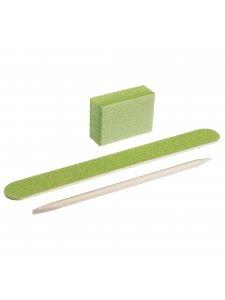 Набор одноразовый для маникюра, цвет: зеленый (пилочка 120/120, баф 120/120, апельсиновая палочка)